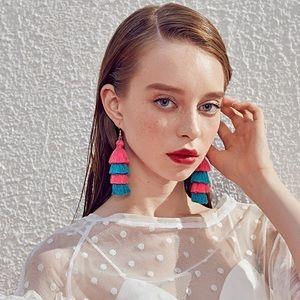 🆕 Two Tone 4 Layer Fiesta Tassel Earrings